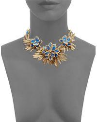 Oscar de la Renta   Blue Wildflower Statement Necklace   Lyst