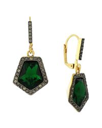 Vince Camuto | Green Crystal Drop Earrings | Lyst