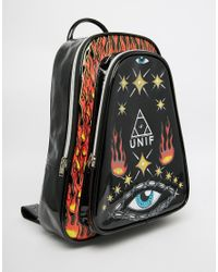 UNIF - Black Notion Backpack With Eye And Fire Print - Lyst