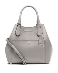 MICHAEL Michael Kors | Gray Saffiano Leather Grab Bag | Lyst