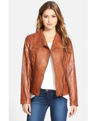 Bernardo - Brown Leather Moto Jacket - Lyst