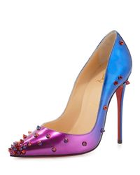 Christian Louboutin | Blue Degraspike Patent Red Sole Pump | Lyst