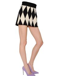 Fausto Puglisi Black Diamond Pattern Wool Crepe Skirt