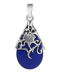 Aeravida - Vintage Vine Adorned Blue Lapis Teardrop .925 Silver Pendant - Lyst