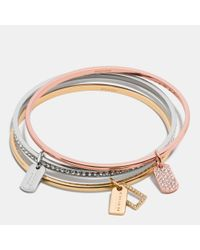 COACH | Multicolor Pave Mixed Tags Bangle Set | Lyst