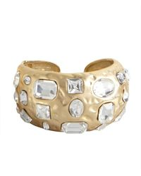 Kenneth Jay Lane | Metallic Gold And Crystal Encrusted Cuff | Lyst