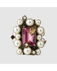 Gucci | Pink Ring With Crystal And Pearls | Lyst
