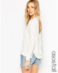 ASOS | White Tall Jumper With Open Back Detail | Lyst