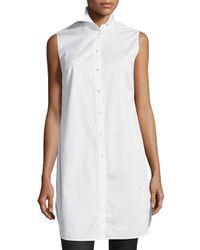 T By Alexander Wang - White Poplin Sleeveless Shirtdress - Lyst