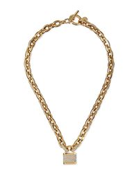 Michael Kors | Metallic Pave Padlock Toggle Necklace | Lyst
