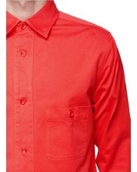 Hardy Amies Red Cotton Twill Shirt Jacket for men