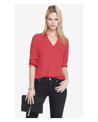 Express | Pink The Convertible Sleeve Portofino Shirt | Lyst