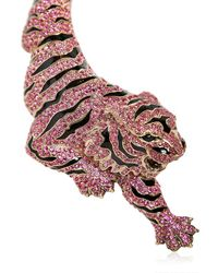Roberto Cavalli Metallic Pink Swarovski Tigre Necklace
