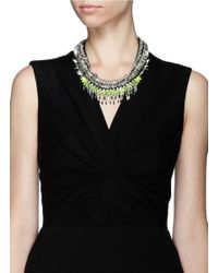 Venna | Black Crystal Fringe Spike Necklace | Lyst