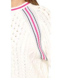 T By Alexander Wang - White Aran Knit Crop Pullover - Black - Lyst