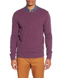Original Penguin - Purple Donegal Lambswool Blend Crewneck Sweater for Men - Lyst
