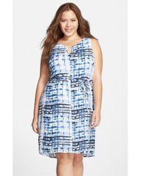 Lyssé Blue Belted Georgette Keyhole Dress