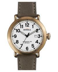 Shinola | Gray 'runwell' Leather Strap Watch for Men | Lyst