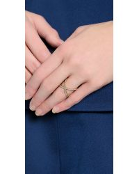 Michael Kors - Metallic Pave X Ring - Gold/Clear - Lyst