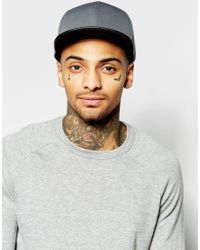 ASOS Gray Snapback Cap In Charcoal Scuba With Contrast Peak for men