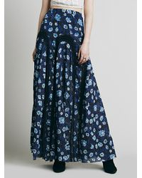 Free People | Blue Zoe Maxi Skirt - Indigo Combo | Lyst