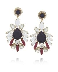 J.Crew | Blue Persian Leaves Goldtone Crystal Earrings | Lyst