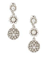 Carolee | White Pearl And Crystal Triple Drop Earrings | Lyst