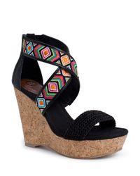 The Sak Black Mason Cork Wedge Sandals