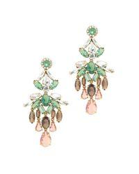 J.Crew - Green Crystal Cascade Earrings - Lyst