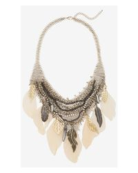 Express Pink Chain Mail and Feather Bib Necklace