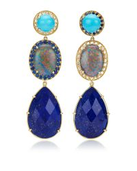 Andrea Fohrman | Blue Unique Turquoise Oval Australian Opal with Rosecut Diamonds Earrings | Lyst