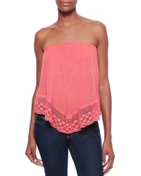Golden by JPB | Pink Balinese Strapless Voile/crochet Top | Lyst