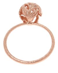 Alex Monroe Pink Medium Rose Gold-plated Peacock Feather Ring