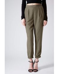 TOPSHOP Green Cupro Relaxed Joggers