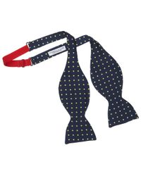 Turnbull & Asser - Blue Silk Navy Bow Tie Featuring Yellow Spots for Men - Lyst