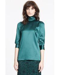 Dolce & Gabbana Green Stretch Silk Satin Top