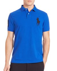 Polo Ralph Lauren | Blue Custom-fit Big Pony Mesh Polo for Men | Lyst