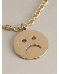A.P.C. Metallic Sad Smiley Necklace