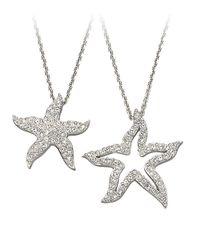 Swarovski Metallic Crystal Pavã© Double Starfish Pendant Necklace