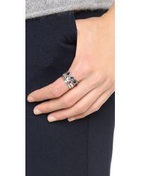 Sam Edelman - Stone Stack Ring Set - Black/rhodium - Lyst