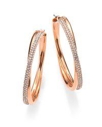 Michael Kors | Pink Brilliance Statement Pavé Crossover Rose Goldtone Hoop Earrings/1.75 | Lyst