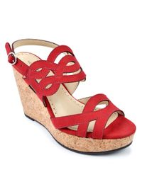 Adrienne Vittadini | Red Camber Leather Platform Wedge Sandals | Lyst