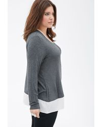 Forever 21 | Gray Plus Size Heathered Colorblock Top | Lyst