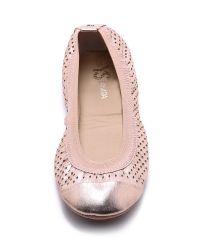 Yosi Samra Pink Samantha Metallic Perforated Flats - Pure Gold