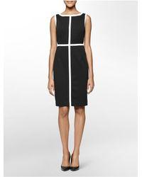Calvin Klein - Black White Label Colorblock Piped Ponte Knit Sleeveless Sheath Dress - Lyst