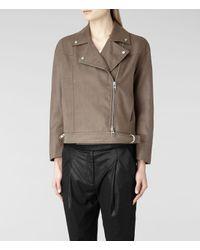 AllSaints Gray Enyo Biker Jacket