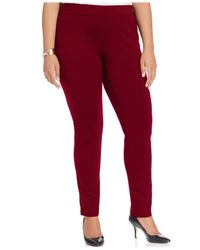 INC International Concepts Brown Inc Plus Size And Petite Plus Ponte Pull-on Skinny Pants, Created For Macy's
