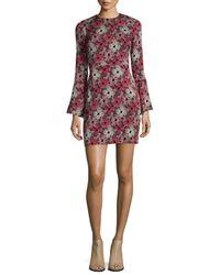 Piamita - Red Flower-print Bell-sleeve Dress - Lyst