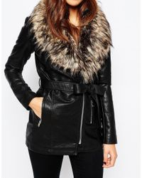 Warehouse Black Faux Leather And Faux Fur Collar Jacket