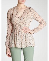 INTROPIA Natural Floral Button Front Blouse